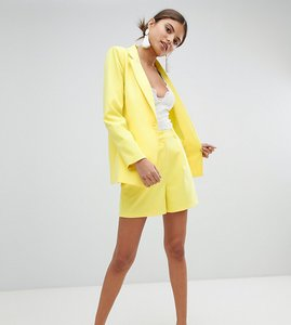 Read more about Missguided high waist tailored shorts - yellow