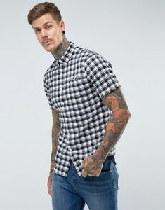Read more about Farah reydon slim fit textured check short sleeve shirt navy - navy 412
