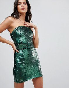 Read more about Asos sequin 80 s belted bandeau bodycon mini dress - green