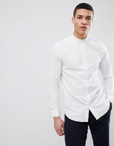 Read more about Selected homme seersucker shirt with grandad collar - white