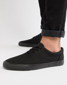 Read more about Asos design lace up plimsolls in black - black
