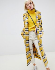 Read more about Glamorous longline coat in bright check - yellow check