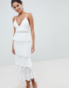 Read more about Love triangle all over lace tiered maxi dress - white
