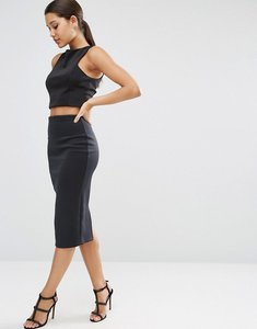 Read more about Asos high waisted scuba pencil skirt - black