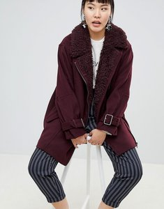 Read more about Monki faux fur collar coat - red