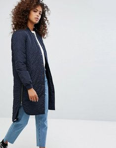 Read more about Noisy may quilted longline bomber jacket - navy