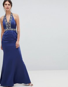 Read more about Minuet plunge maxi dress with embellished detail - navy