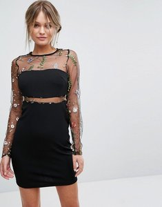 Read more about New look embroidered insert mesh dress - black