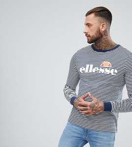 Read more about Ellesse striped long sleeve t-shirt with logo in navy - navy