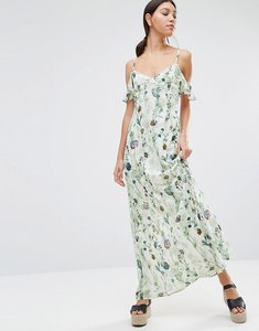 Read more about Oh my love cold shoulder maxi dress - blue floral