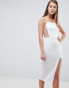 Read more about Asos design extreme square neck mesh detail midi dress - white