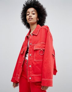 Read more about Bershka denim jacket with ring detail and distressing - red