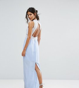 Read more about Elise ryan contrast lace maxi dress with open back - lilac