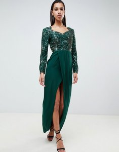 Read more about Virgos lounge darline embellished sweetheart maxi dress with thigh split in emerald green - emerald