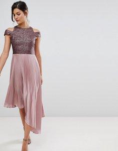 Read more about Coast delores satin pleated asymmetric dress - blush 60