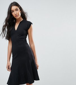 Read more about Y a s tall cisley v neck a line dress - black