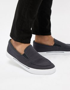 Read more about Asos design slip on plimsolls in navy with floral linings - navy
