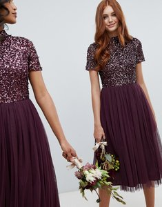 Read more about Maya high neck midi tulle dress with tonal delicate sequins in berry - berry