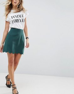 Read more about Asos tailored a-line mini skirt with scallop hem - forest green