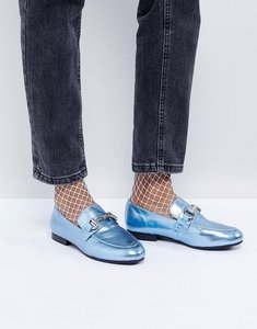 Read more about New look metallic t bar loafer - blue