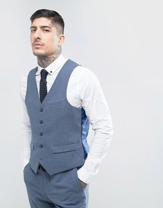 Read more about Harry brown slim fit donegal nep waistcoat - blue
