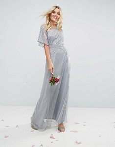 Read more about Asos design bridesmaid embellished lace insert flutter sleeve maxi dress - grey