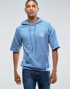 Read more about Wetts raw edge mid sleeve hoodie with wild wave back print - blue
