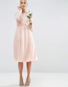 Read more about Asos wedding midi dress with lace and bow detail - blush