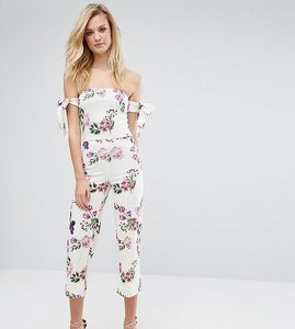Read more about Oh my love tall bardot jumpsuit with tie sleeves in floral print - rose garden print