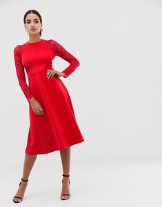 Read more about Asos premium midi scuba skater dress with lace sleeves - red