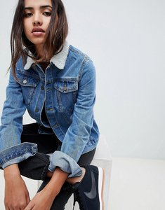Read more about Criminal damage denim jacket with faux shearling collar - blue