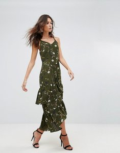 Read more about Ax paris drop hem maxi dress with frill hem in floral print - khaki