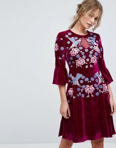 Read more about Frock and frill allover premium embellished velvet skater dress with peplum hem - berry