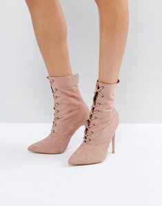 Read more about Public desire spectrum paperbag lace up ankle boots - mauve