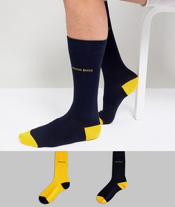 Read more about Boss by hugo boss crew socks contrast heel toe 2 pack - multi