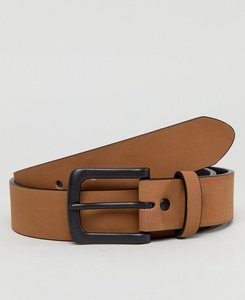 Read more about Asos wide belt in matte tan faux leather and black matte buckle - tan