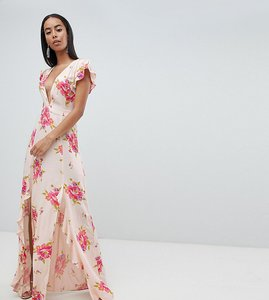 Read more about Asos design tall plunge maxi dress in floral print - multi