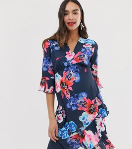 Read more about Blume maternity wrap front midi tea dress in blue floral