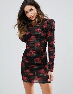 Read more about Wow couture all over ruched mini bodycon dress in rose floral print - multi