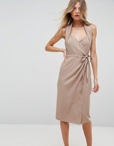 Read more about Asos shawl collar midi wrap dress - champagne