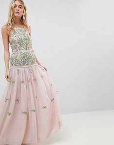 Read more about Asos edition meadow floral embellished maxi dress - multi