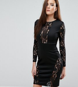Read more about Club l lace insert panel midi dress - black