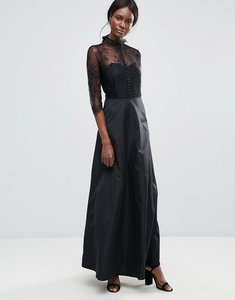 Read more about Y a s high neck maxi dress with lace insert - black