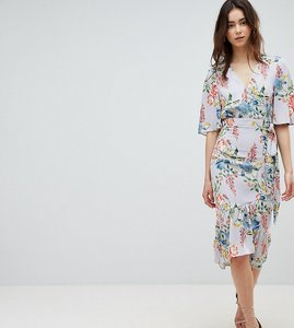 Read more about Asos design tall floral print kimono sleeve wrap midi dress - multi