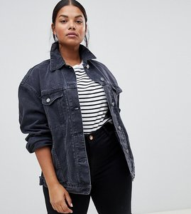 Read more about Asos curve denim girlfriend jacket in washed black - washed black
