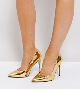 Read more about Asos paris wide fit pointed heels - gold mirror