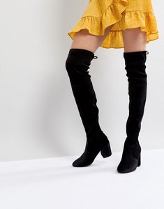 Read more about New look velvet over the knee block heeled boot with tie back - black