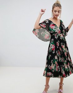 Read more about Asos design flutter sleeve pleated midi dress in dark floral - dark floral print