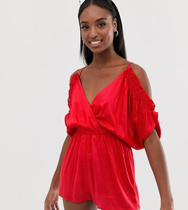 Read more about Asos design tall beach playsuit with cold shoulder flutter sleeve