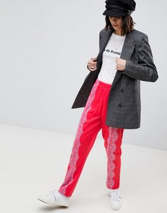 Read more about Asos track pant trousers with lace detail - pink
